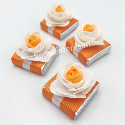 turuncu çiçekli tek çikolatalar (10 adet)