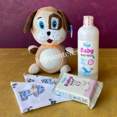 uyku arkadaşlı ve şampuanlı-sabunlu bebek hediyesi