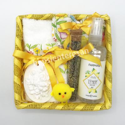 sarı sevenlere kolonyalı banyo seti
