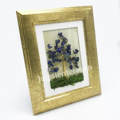 lapis lazuli taşlı hayat ağacı tablo ve mumları