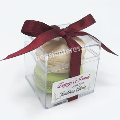 bordo kurdeleli makaronlu nikah hediyeliği (50 adet)