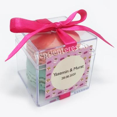pembe kurdeleli makaronlu nikah hediyeliği (50 adet)