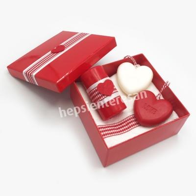 kalp sabunlu mis kokulu romantik set