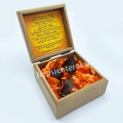 ahşap kutuda, şifalı, dumanlı kuvars seti