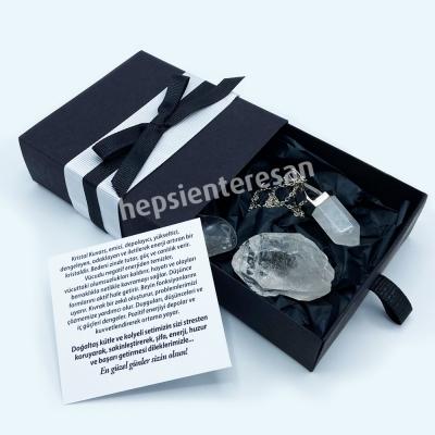 kristal kuvars pandül kolyeli şifalı set