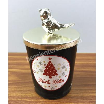 gümüş görünümlü kuş kapaklı kokulu mum 2