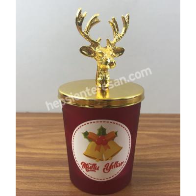altın görünümlü geyik kapaklı kokulu mum 1