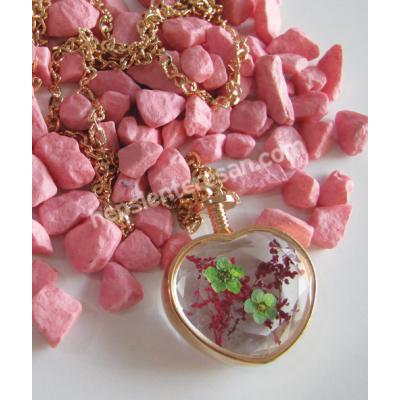 kurutulmuş çiçekli kolye - pembe/yeşil